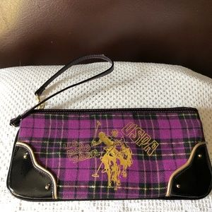 U.S. Polo Assn Purple Plaid Canvas Clutch